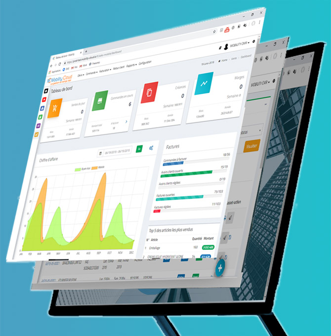 Dashboard logiciel de gestion commerciale